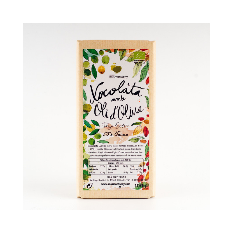 Chocolate con Aceite de Oliva 55% Cacao.